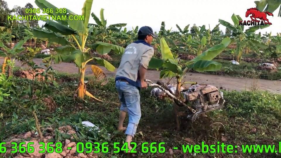 xới đất vườn bằng máy xới đất chạy xăng kachita